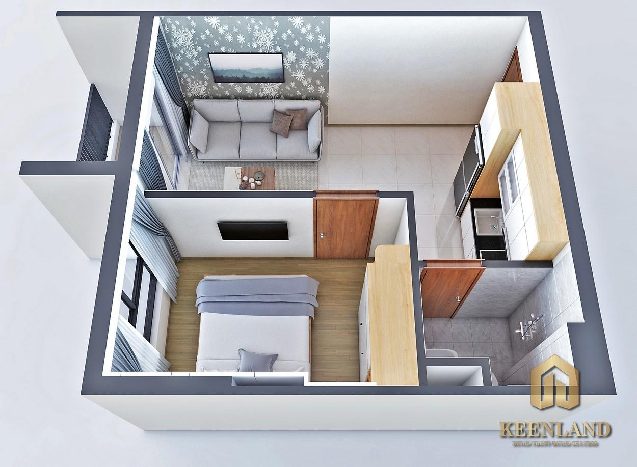 Thiết kế căn hộ Bcons Bee 1 phòng ngủ