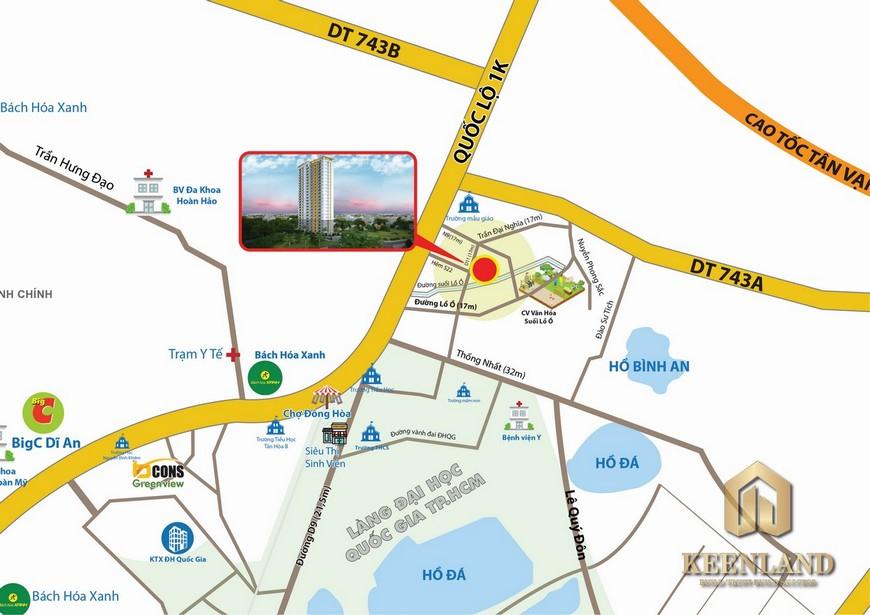 Vị trí địa chỉ dự án căn hộ chung cư Bcons Bee Dĩ An
