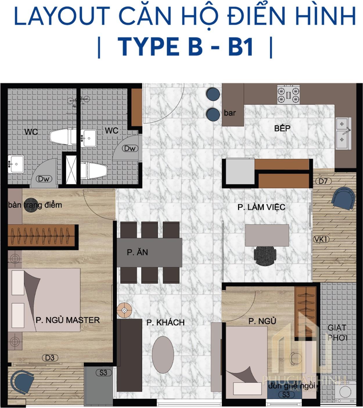 Layout căn hộ B và B1 - Centana Thủ Thiêm