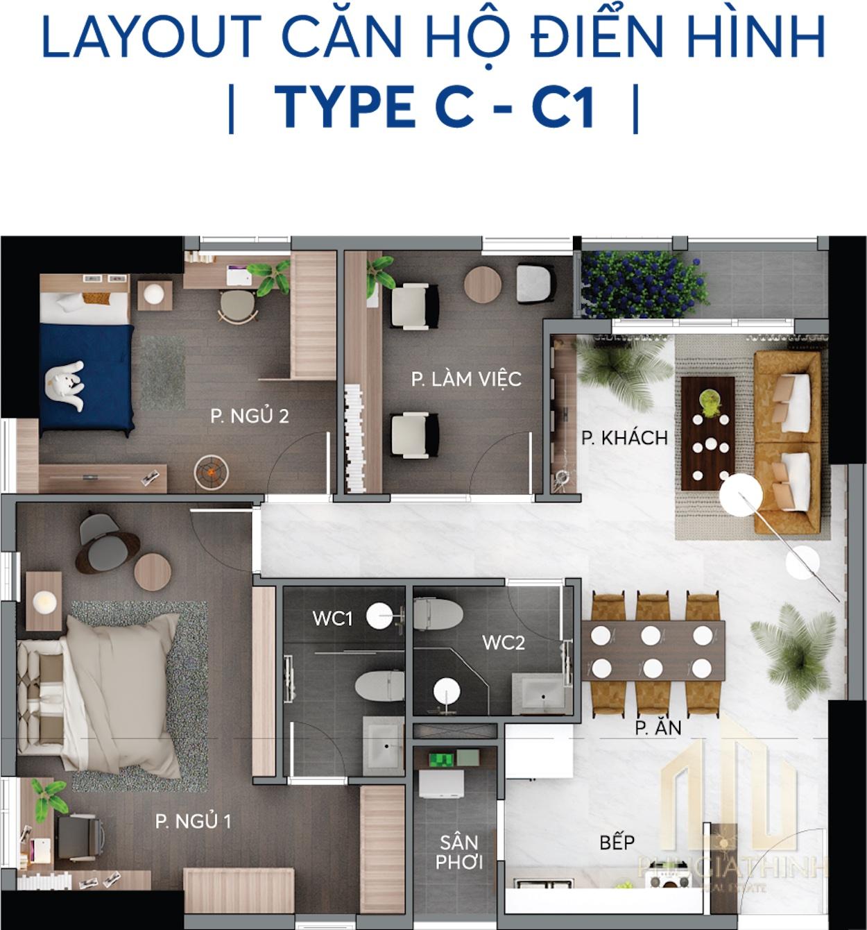 Layout căn hộ C và C1 - Centana Thủ Thiêm