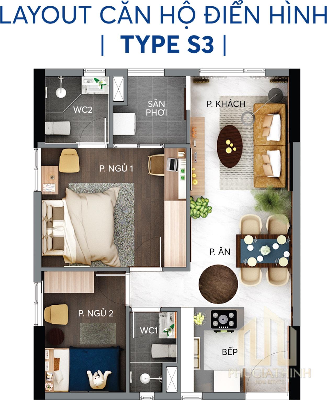 Layout căn hộ S3 - Centana Thủ Thiêm