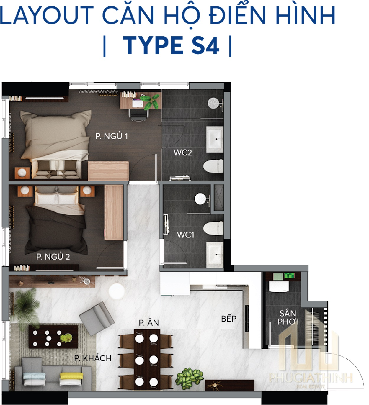 Layout căn hộ S4 - Centana Thủ Thiêm