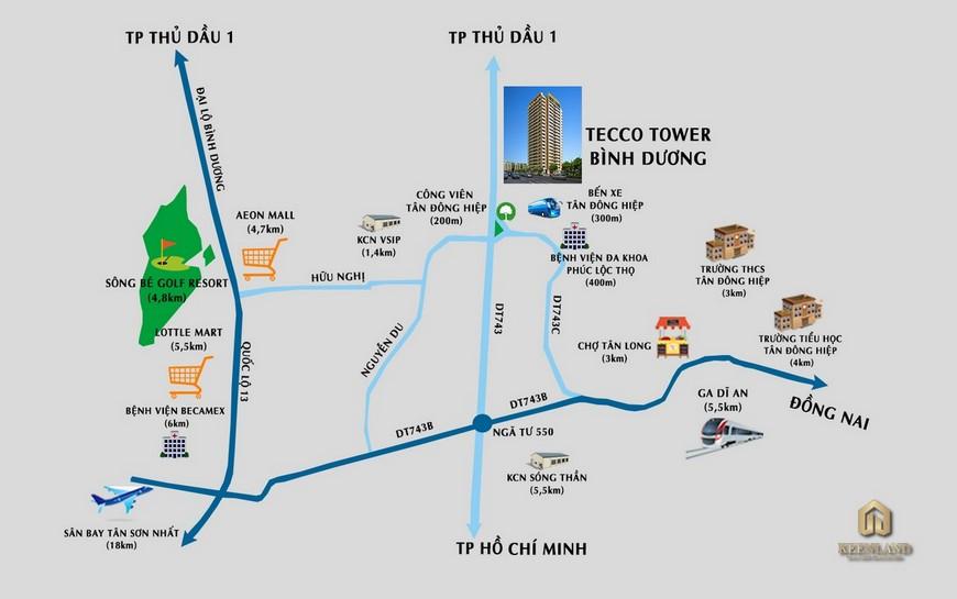 Vị trí địa chỉ dự án căn hộ chung cư Tecco Tower Dĩ An