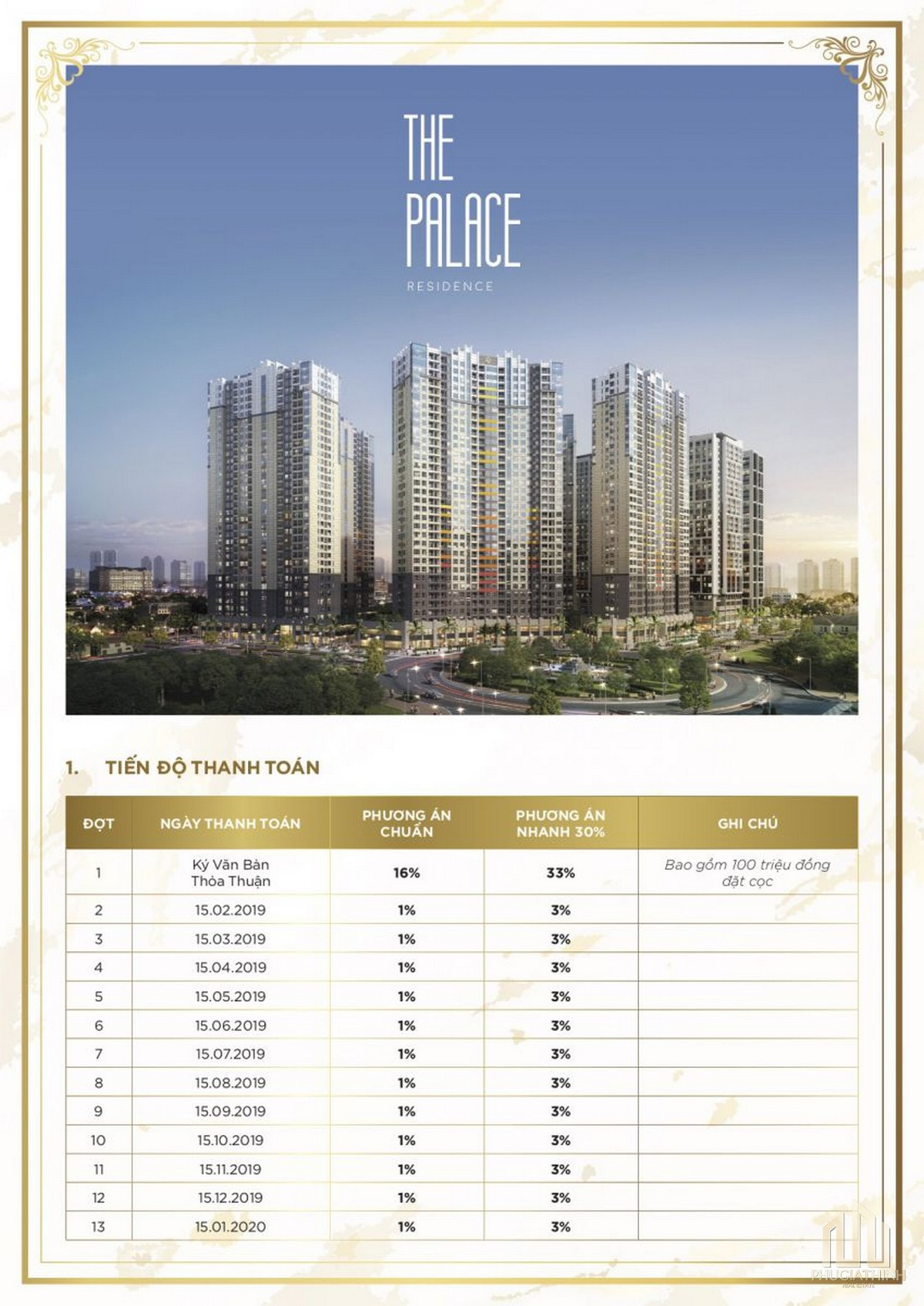 Thanh toán dự án căn hộ The Palace Residence Quận 2