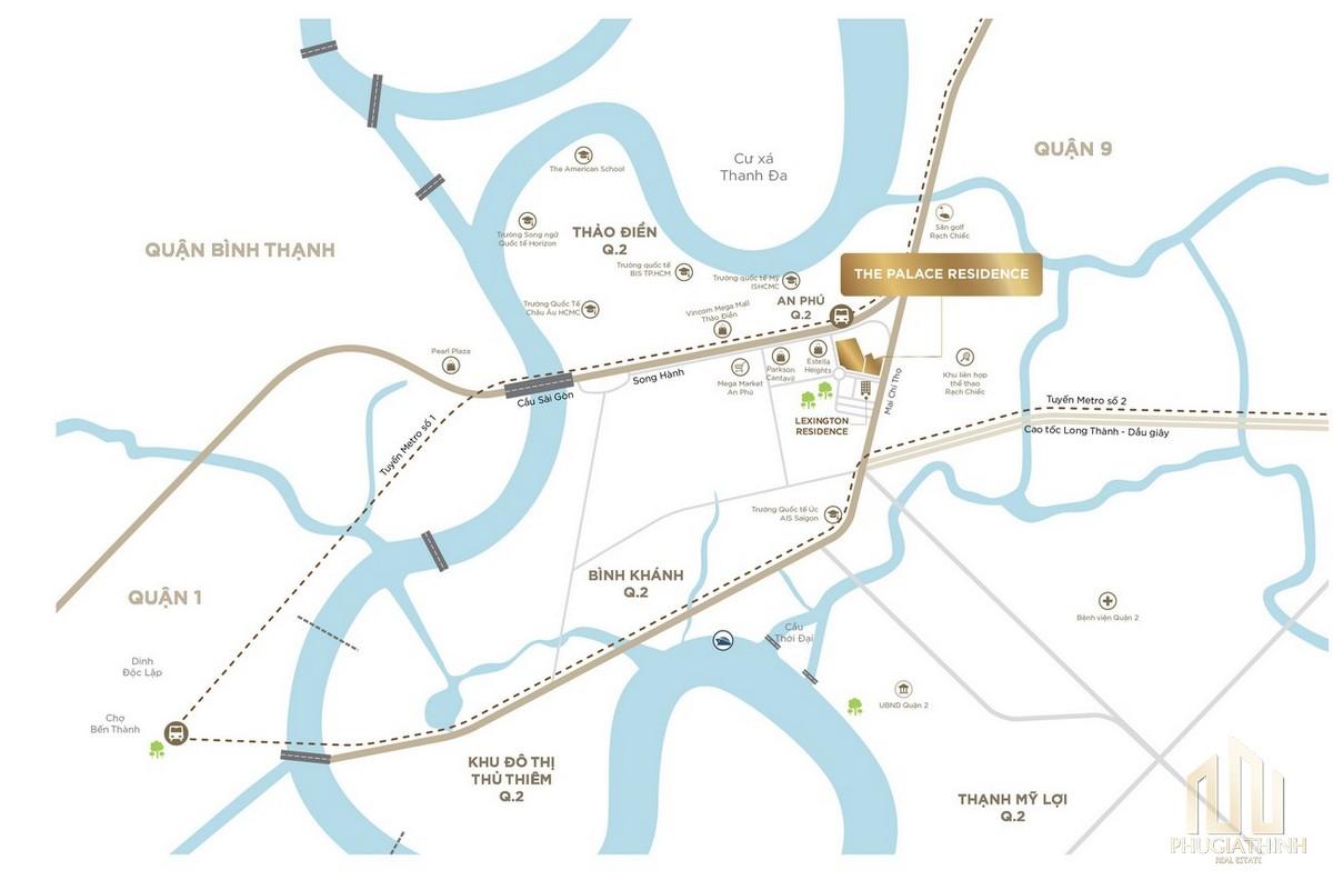 Vị trí dự án căn hộ The Palace Residence Quận 2