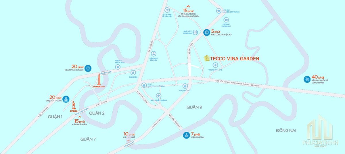 Vị trí dự án căn hộ Tecco Vina Garden Quận 9