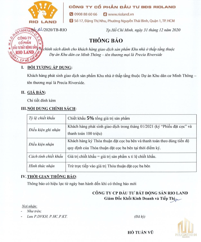 PRECIA RIVERSIDE QUẬN 2 chinh sach precia riverside