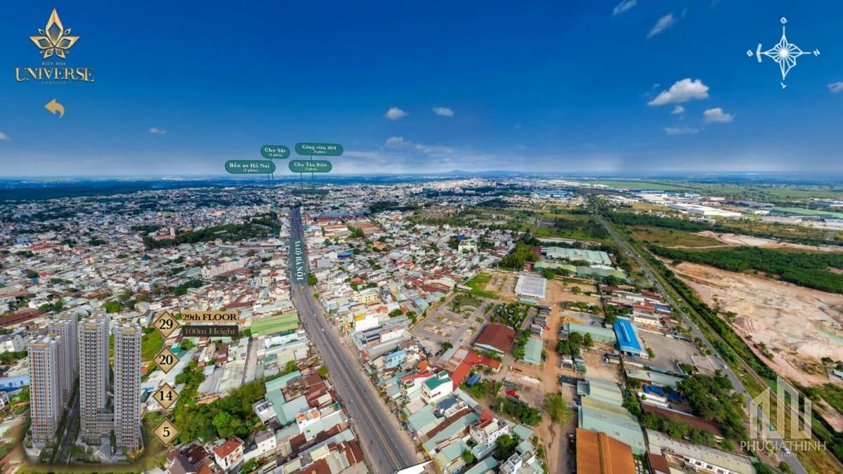 Phối cảnh tổng thể dự án căn hộ Biên Hoà Universe Complex nhìn từ phía Đông