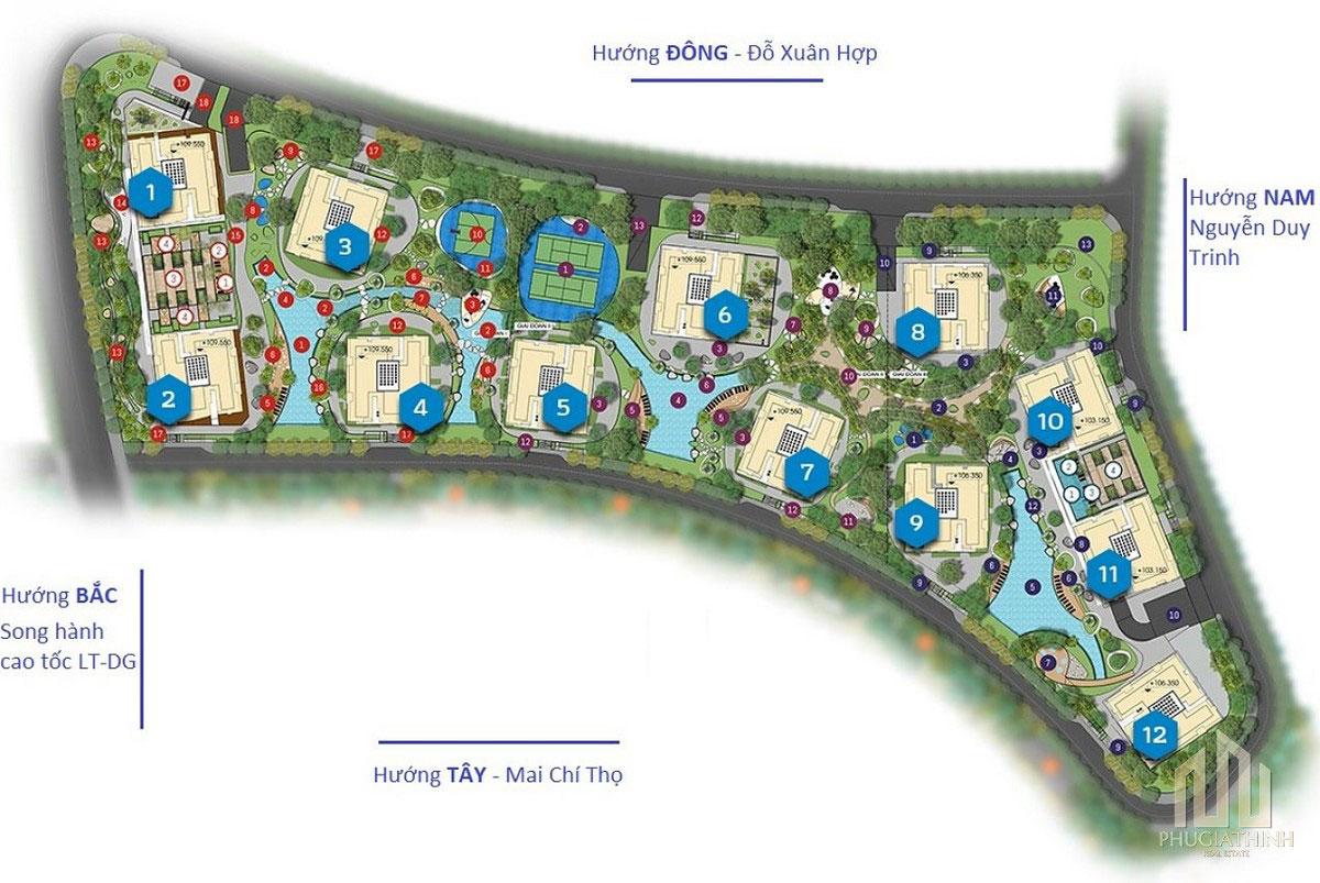 Mặt bằng dự án căn hộ Gem Riverside Quận 2