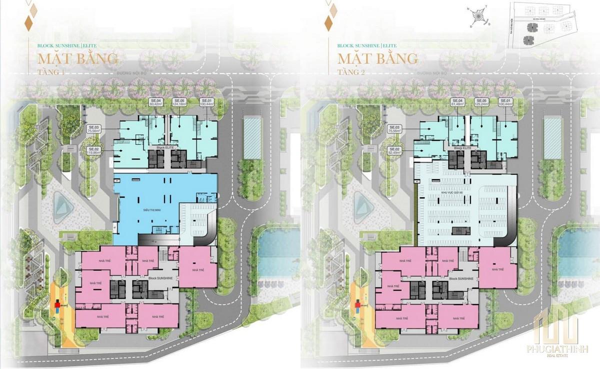 Mặt bằng tầng 1 và 2 Block Sunshine và Elite dự án Biên Hoà Universe Complex