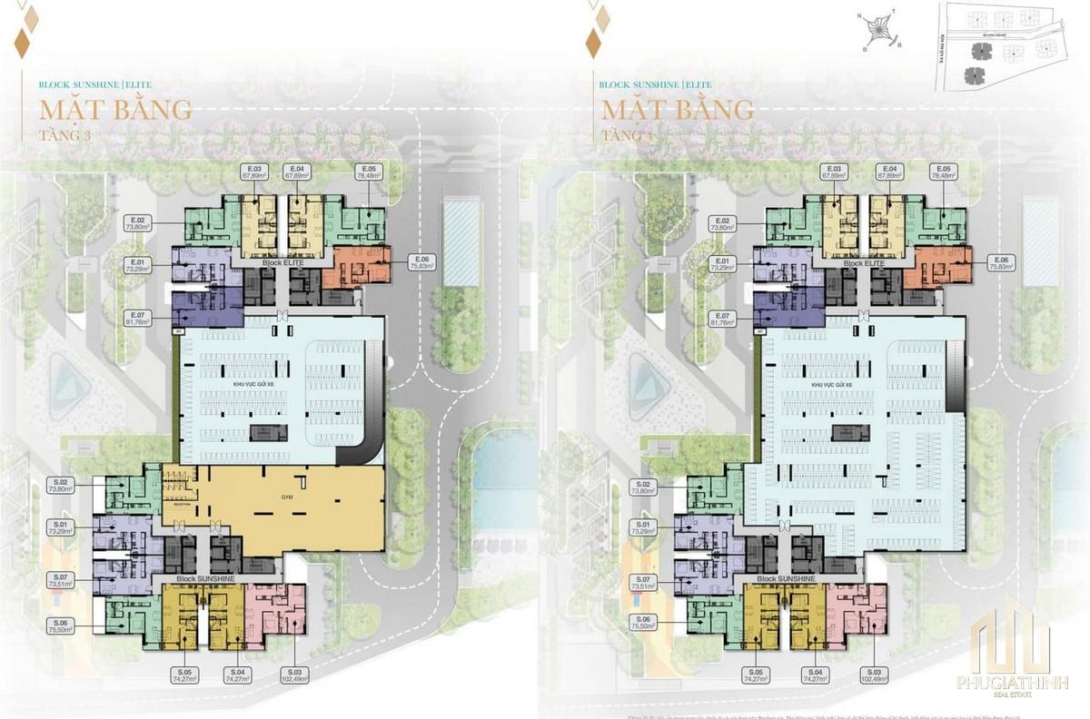 Mặt bằng tầng 3 và 4 Block Sunshine và Elite dự án Biên Hoà Universe Complex