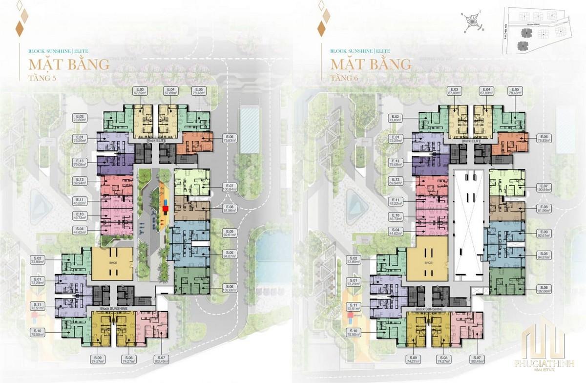 Mặt bằng tầng 5 và 6 Block Sunshine và Elite dự án Biên Hoà Universe Complex