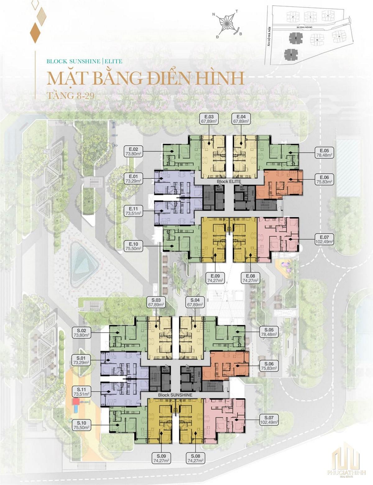 Mặt bằng tầng 8 - 29 Block Sunshine và Elite dự án Biên Hoà Universe Complex
