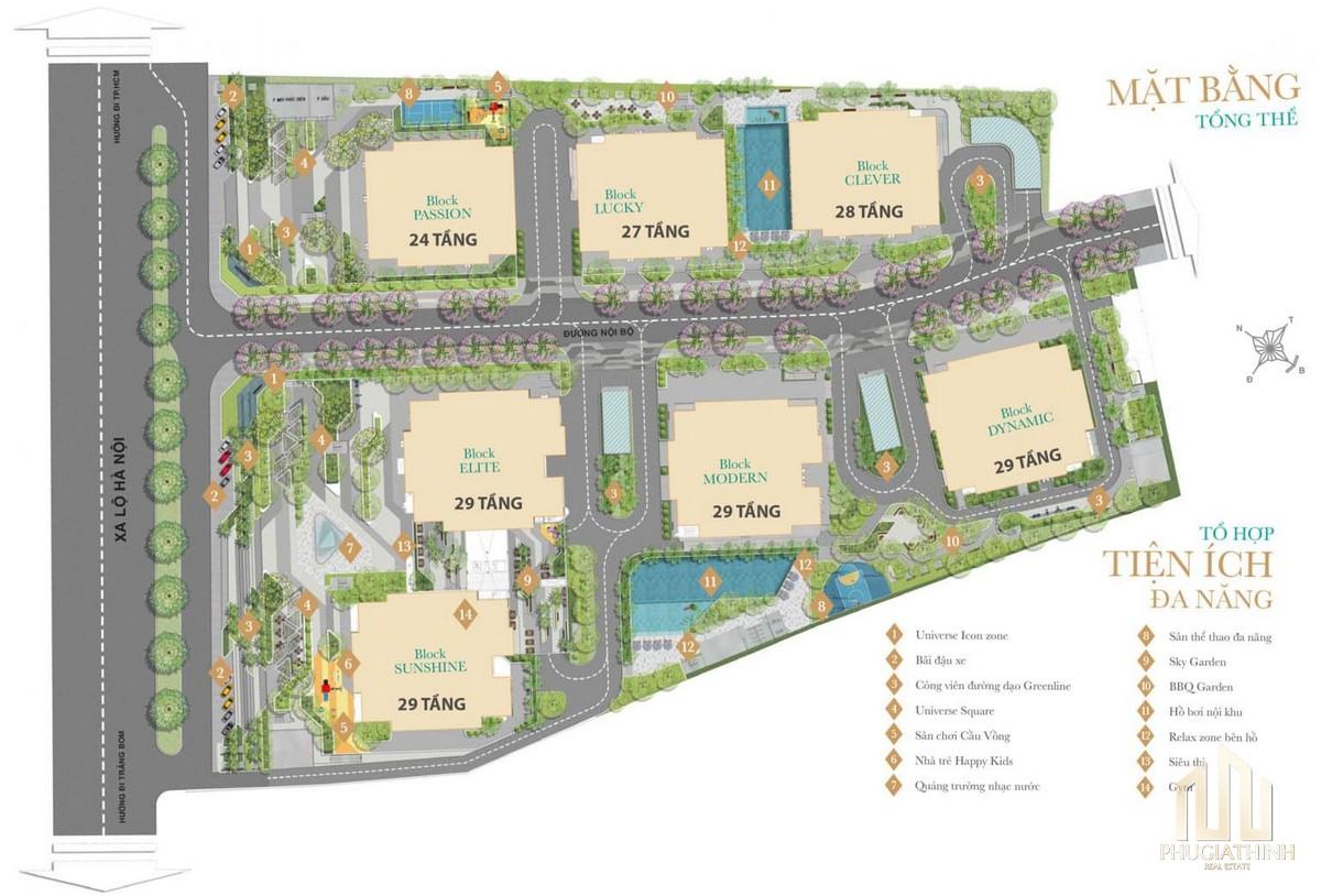Mặt bằng tổng thể tiện ích dự án căn hộ Biên Hoà Universe Complex