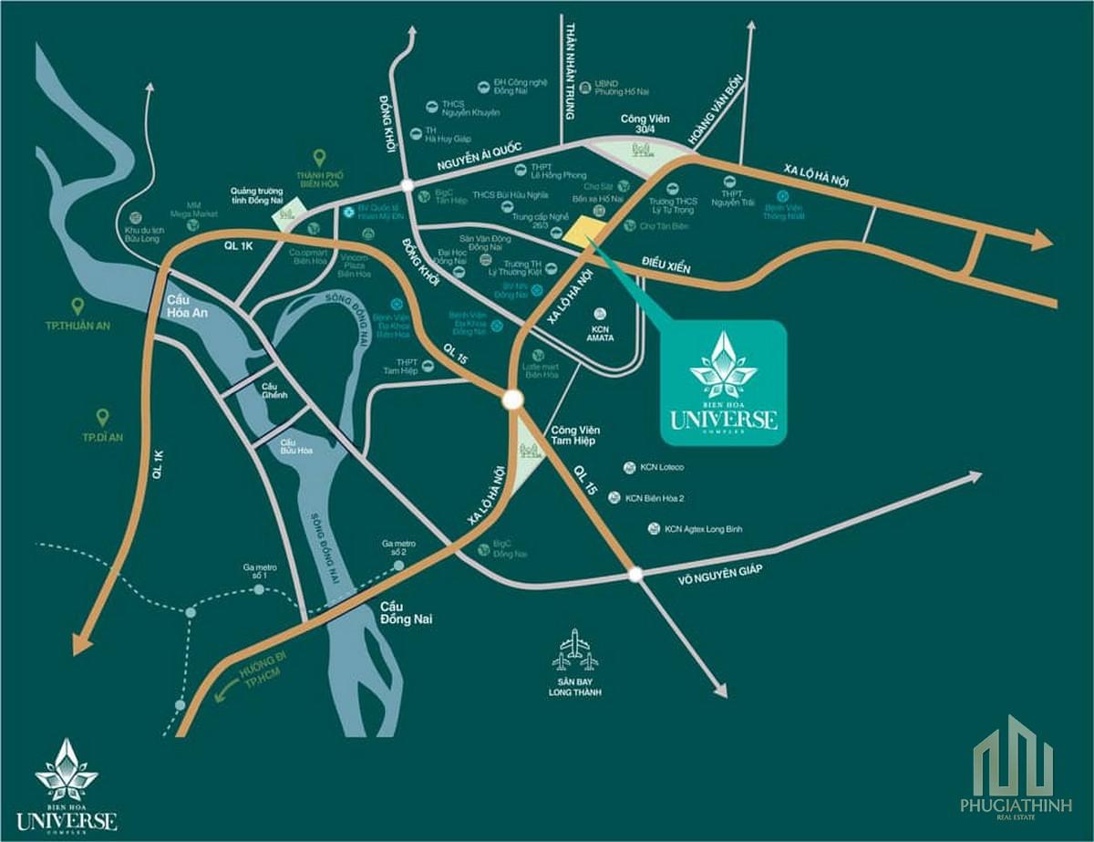 Vị trí dự án Biên Hòa Univer Complex Đồng Nai