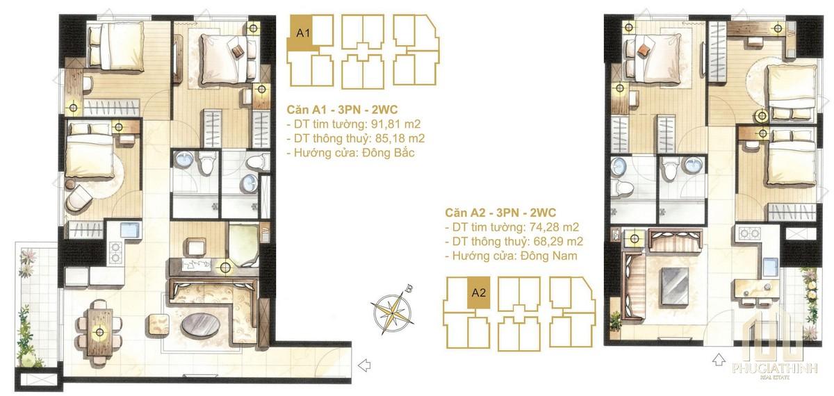 Thiết kế căn A1-A2a dự án Paris Hoàng Kim Quận 2