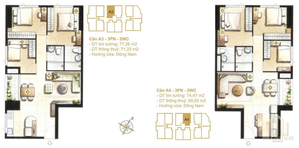 Thiết kế căn A3-A4a dự án Paris Hoàng Kim Quận 2