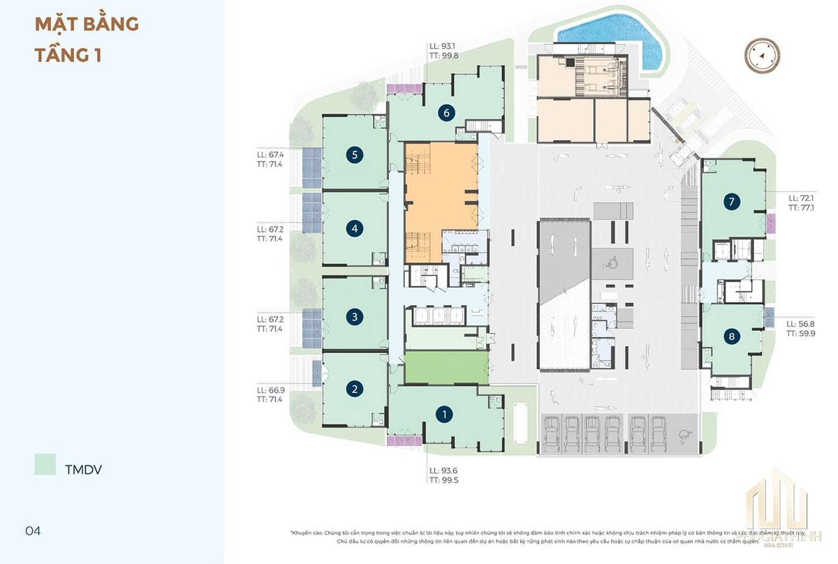 Mặt bằng tầng 1 dự án căn hộ chung cư Precia Quận 2 Đường Nguyễn Thị Định chủ đầu tư Minh Thông
