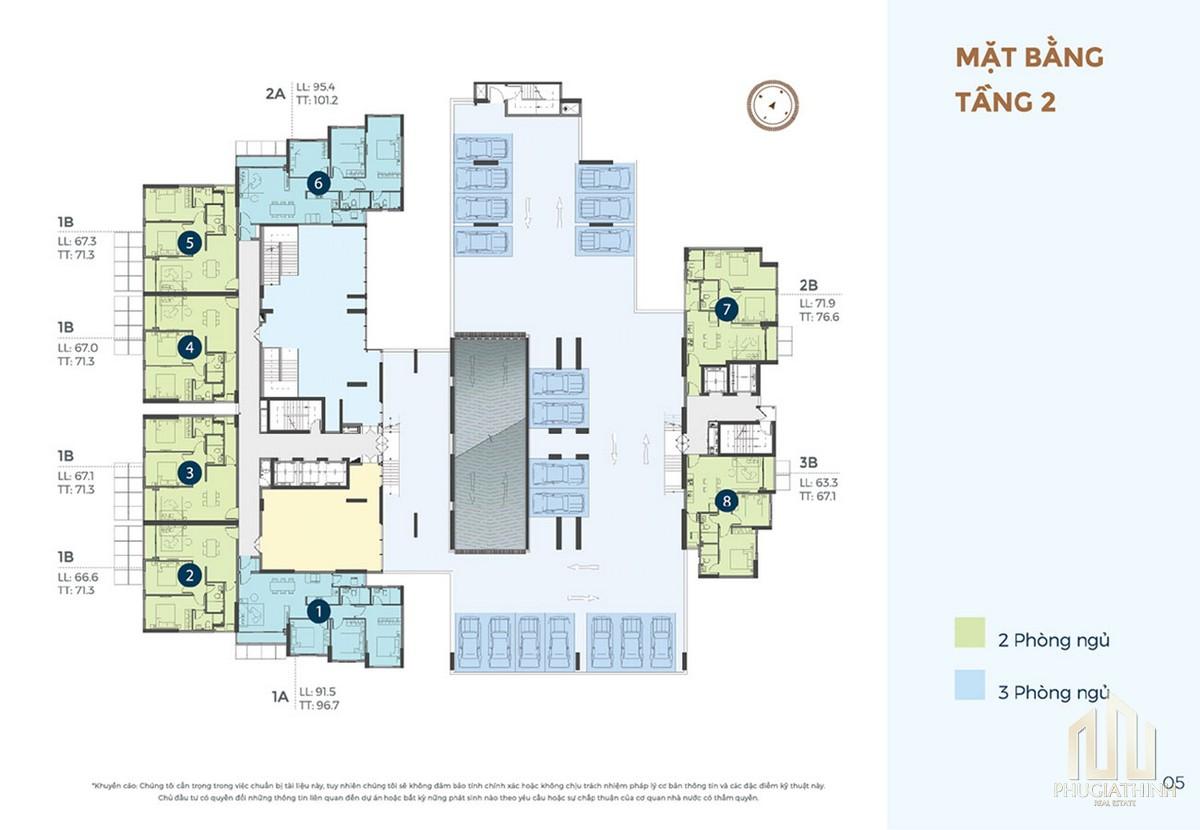 Mặt bằng tầng 2 dự án căn hộ chung cư Precia Quận 2 Đường Nguyễn Thị Định chủ đầu tư Minh Thông