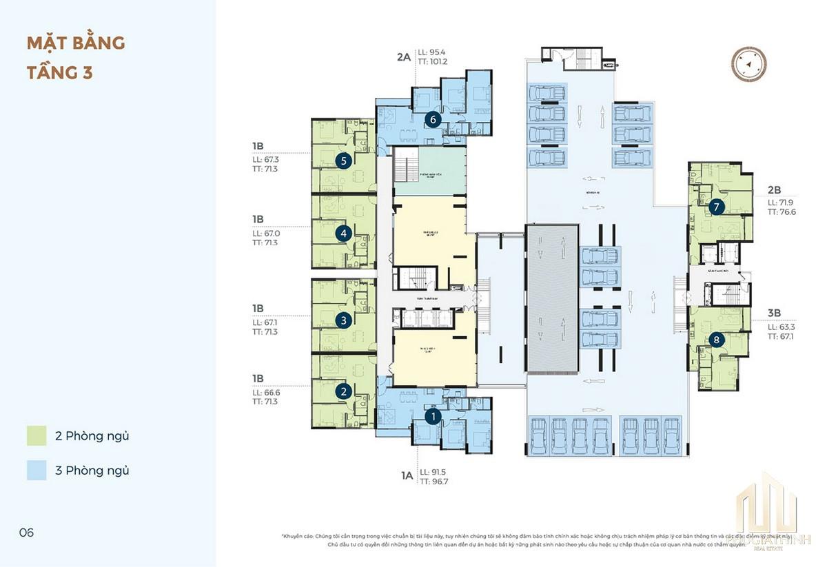 Mặt bằng tầng 3 dự án căn hộ chung cư Precia Quận 2 Đường Nguyễn Thị Định chủ đầu tư Minh Thông