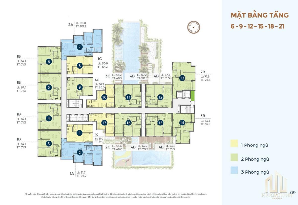 Mặt bằng tầng điển hình dự án căn hộ chung cư Precia Quận 2 Đường Nguyễn Thị Định chủ đầu tư Minh Thông