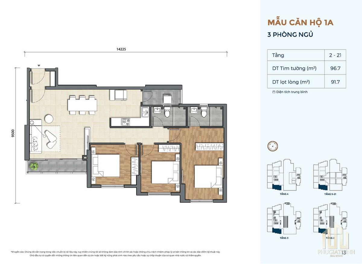Thiết kế căn hộ 1A dự án Precia Quận 2
