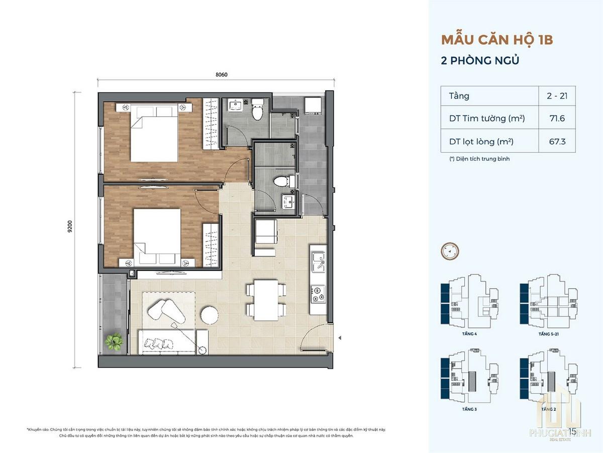 Thiết kế căn hộ 1B dự án Precia Quận 2