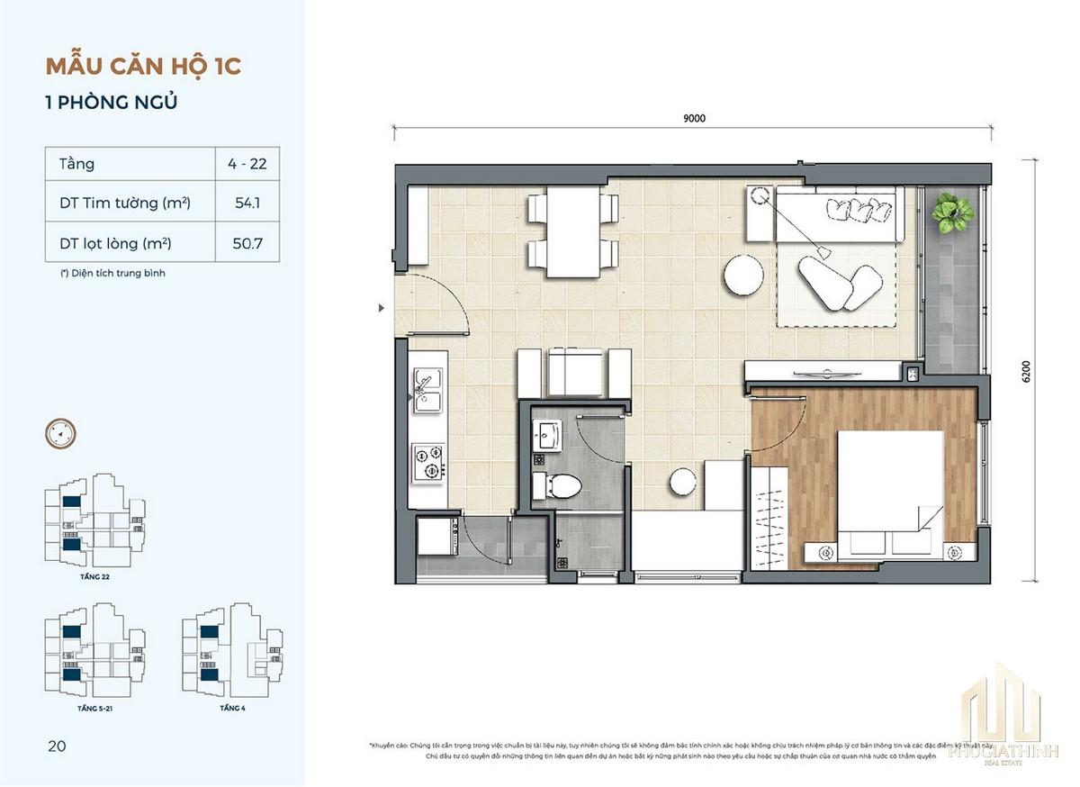 Thiết kế căn hộ 1C dự án Precia Quận 2