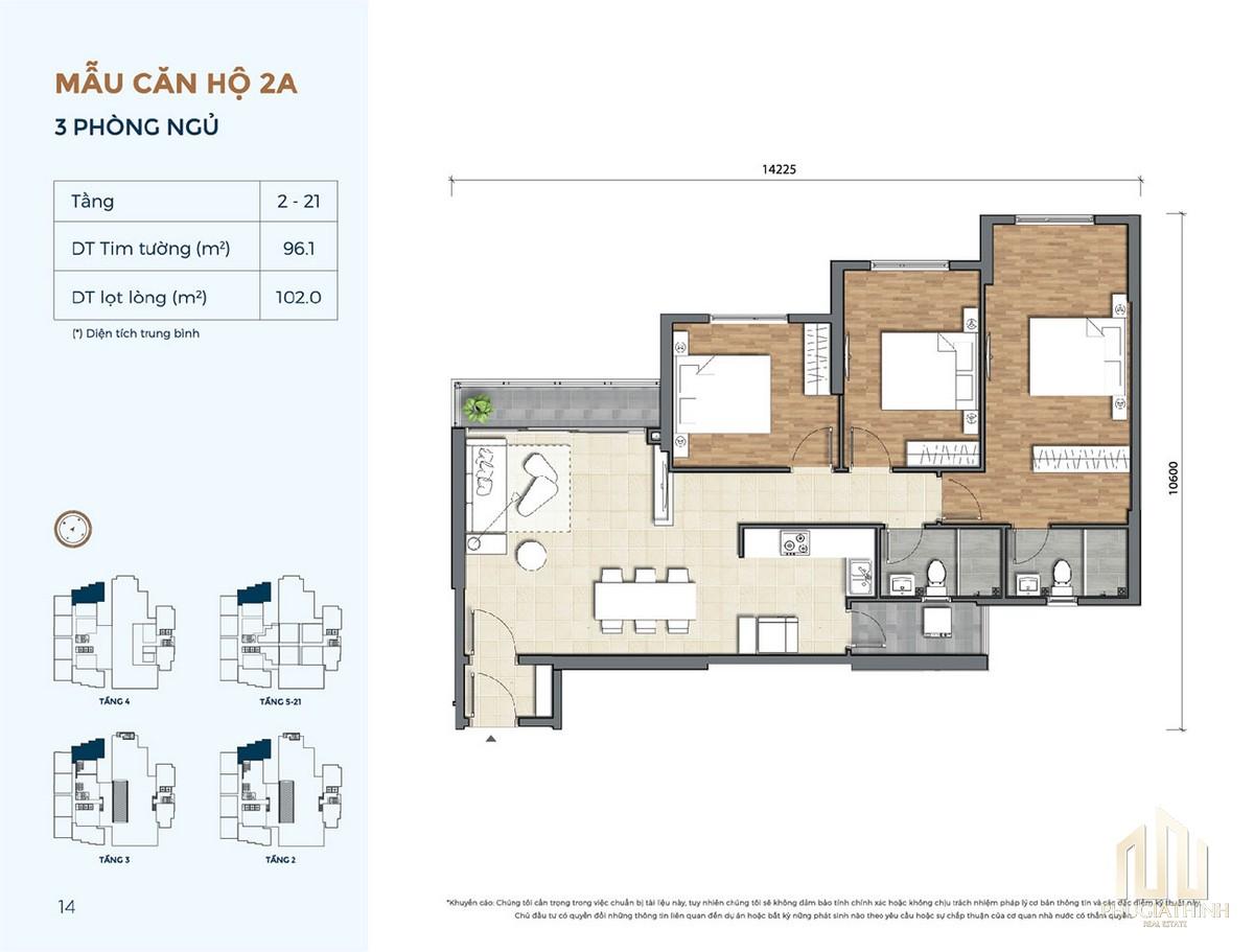 Thiết kế căn hộ 2A dự án Precia Quận 2