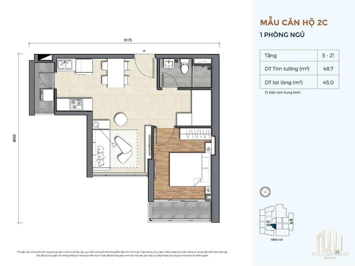 Thiết kế căn hộ 2C dự án Precia Quận 2