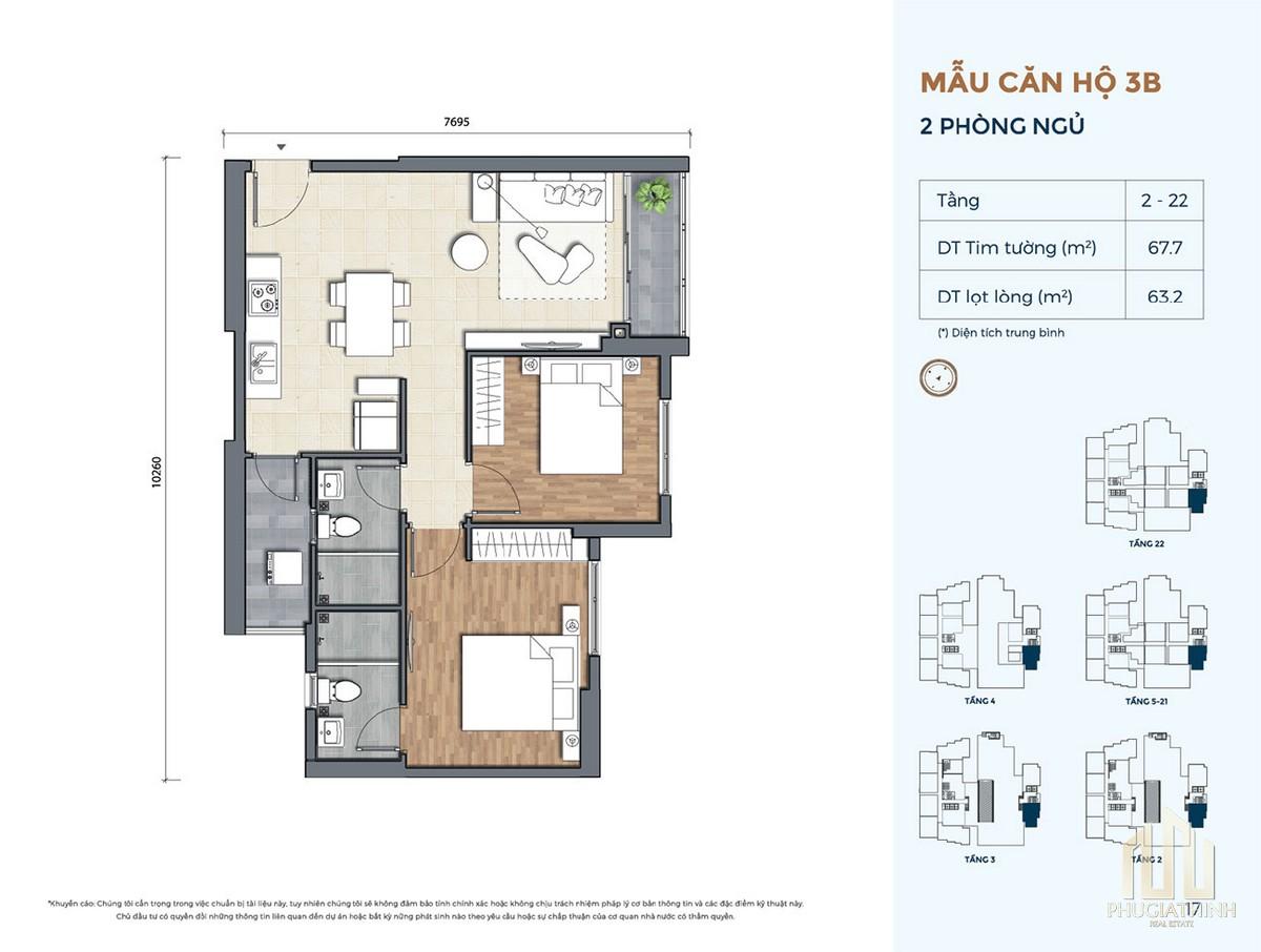 Thiết kế căn hộ 3B dự án Precia Quận 2