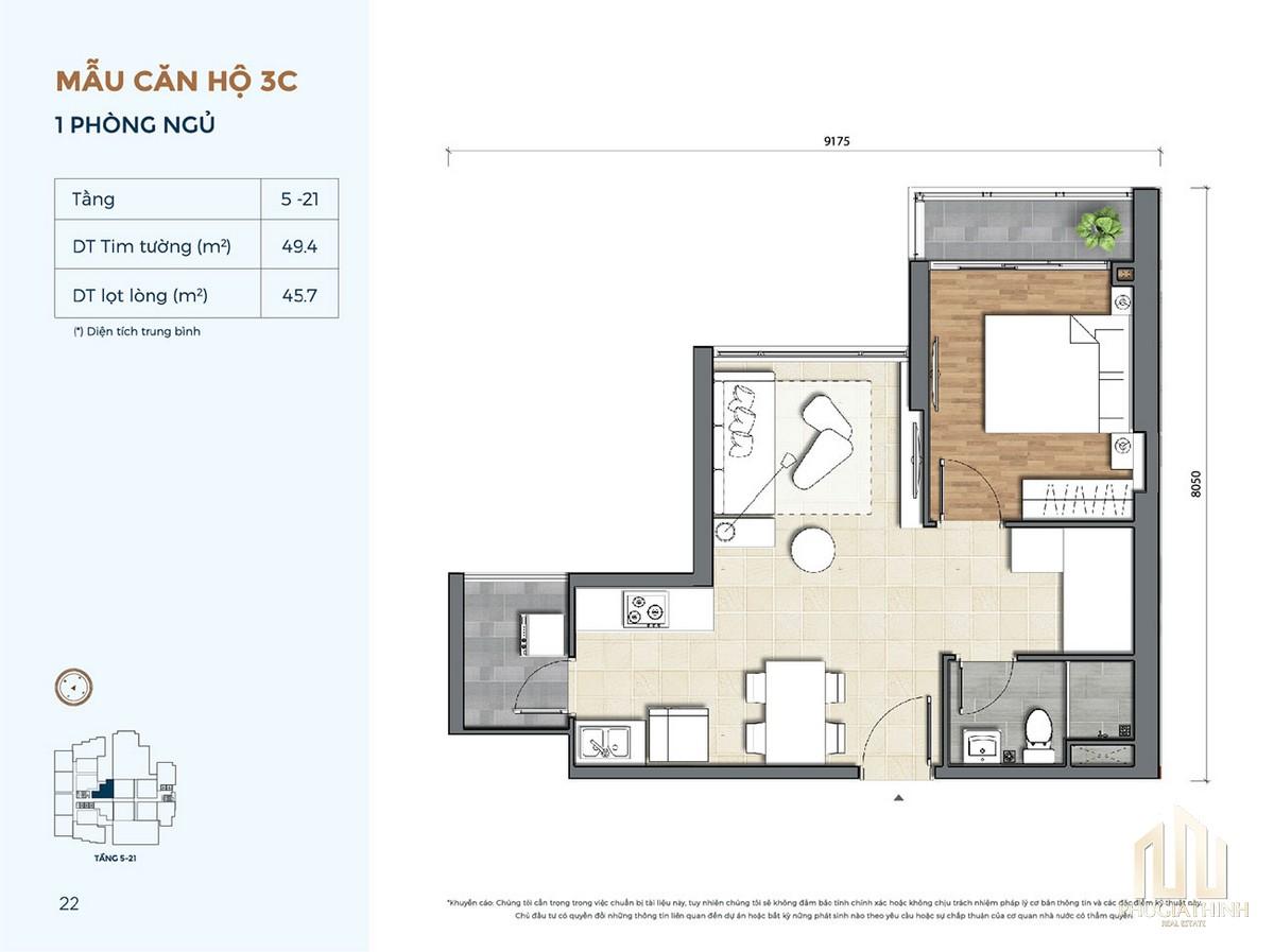 Thiết kế căn hộ 3C dự án Precia Quận 2