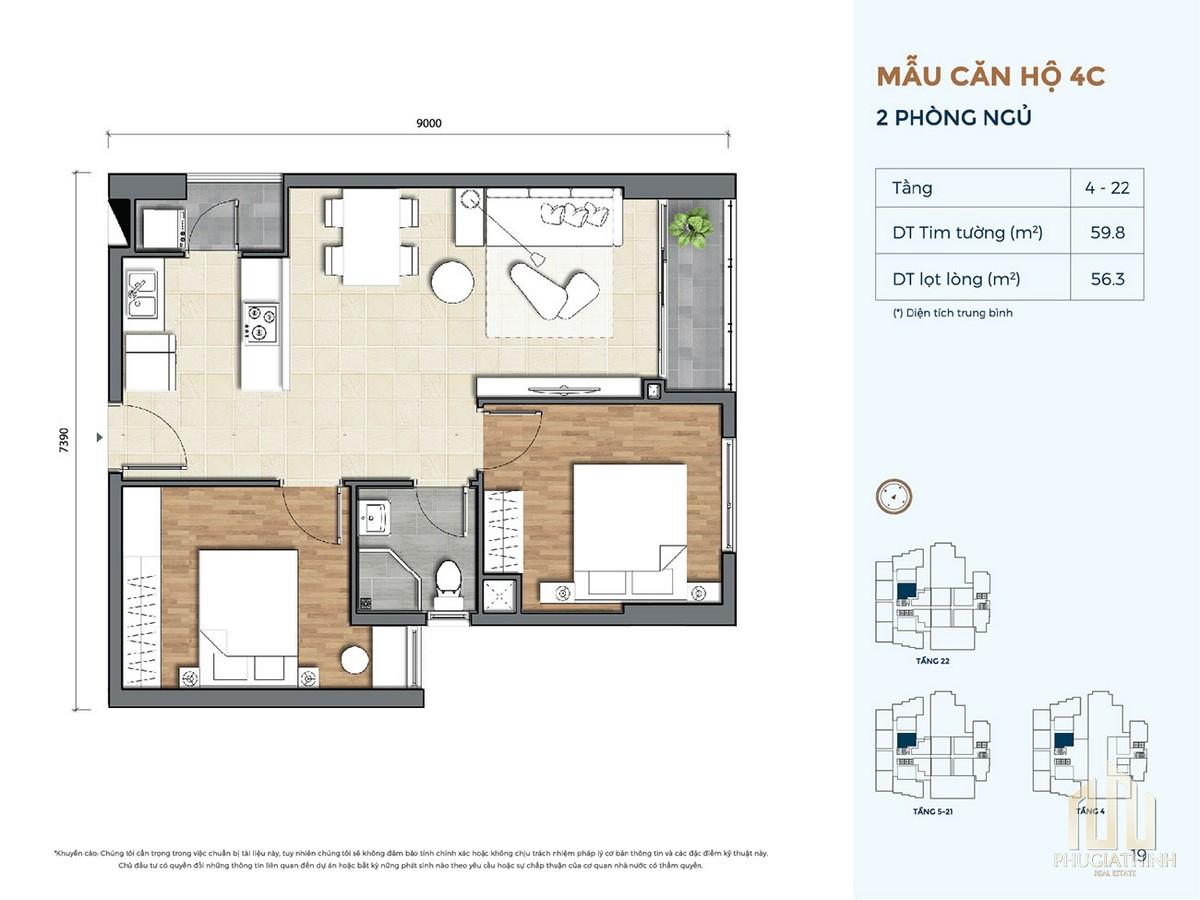 Thiết kế căn hộ 4C dự án Precia Quận 2
