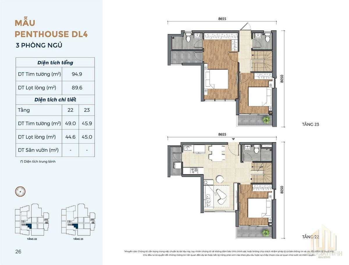 Thiết kế căn hộ DL4 dự án Precia Quận 2