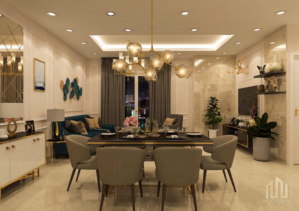 View tủ bếp dự án căn hộ hạng sang Paris Hoàng Kim Quận 2