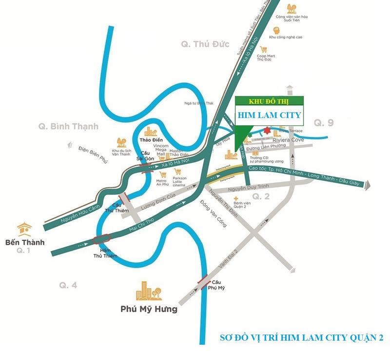 Vị trí dự án Him Lam City Quận 2 (khu đô thị Sài Gòn Bình An)