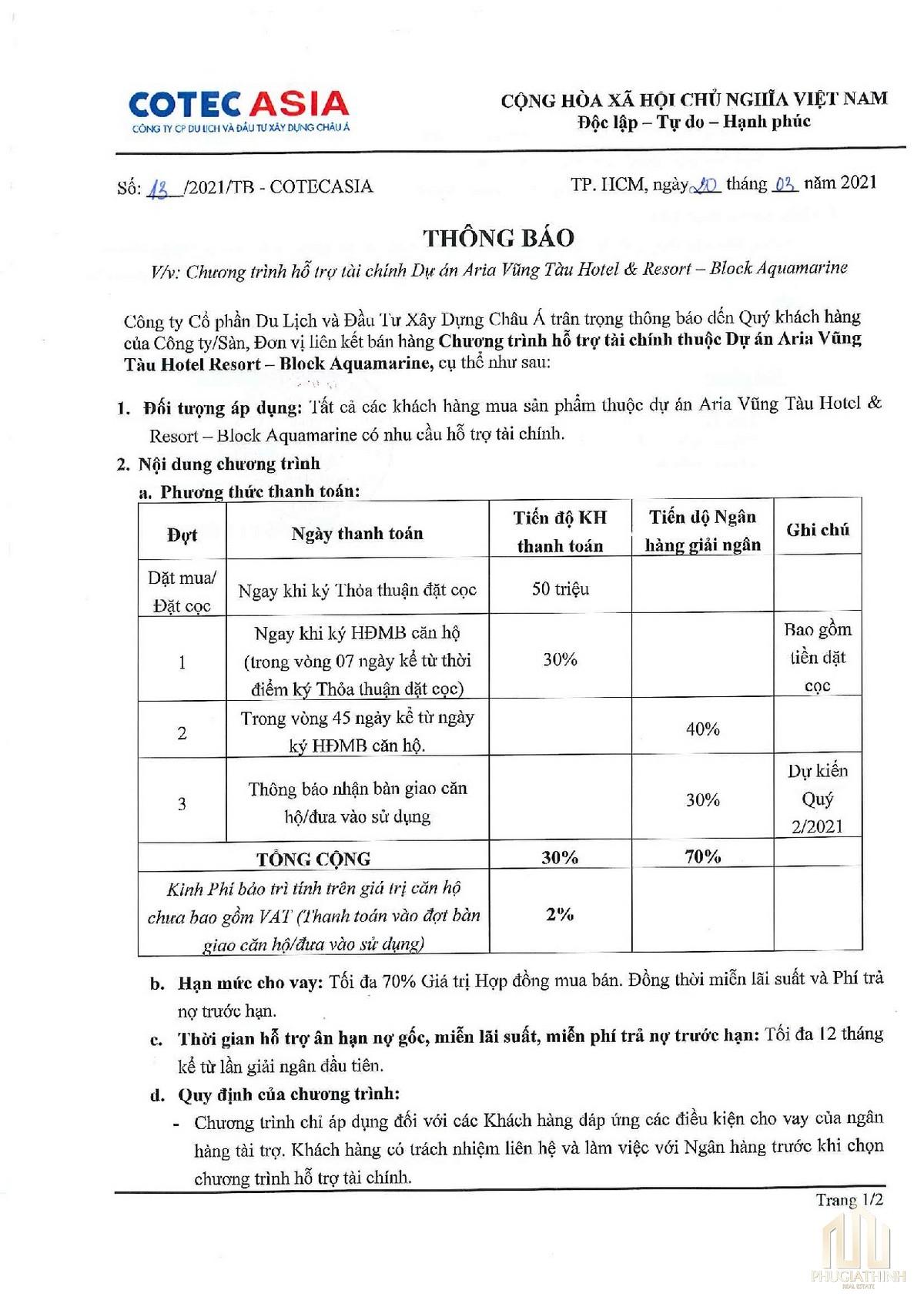 Chương trình hỗ trợ tài chính dự án Aria Vũng Tàu