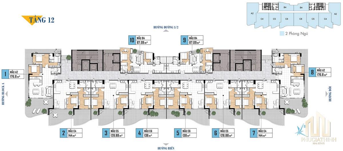 Mặt bằng tầng 12 dự án căn hộ Aria