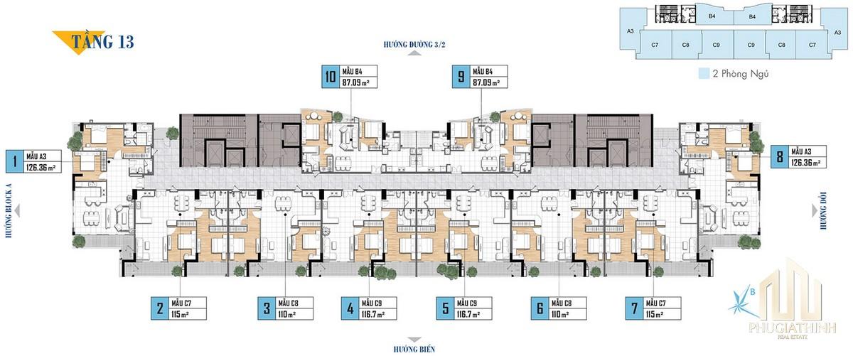 Mặt bằng tầng 13 dự án căn hộ Aria