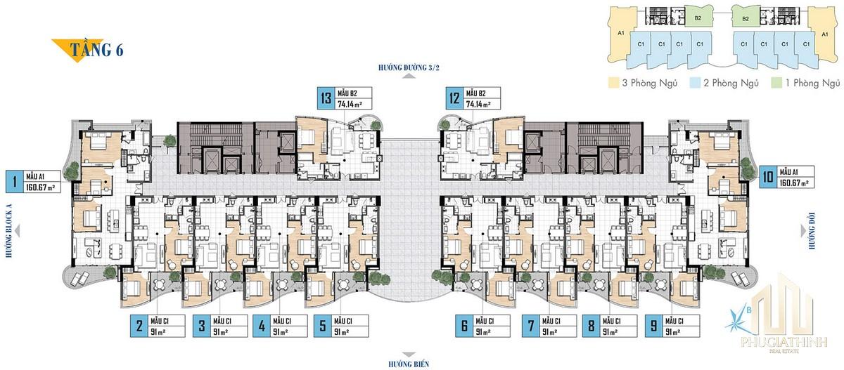 Mặt bằng tầng 6 dự án Aria