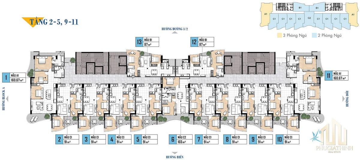 Mặt bằng tầng 2-5, 9-11 dự án Aria