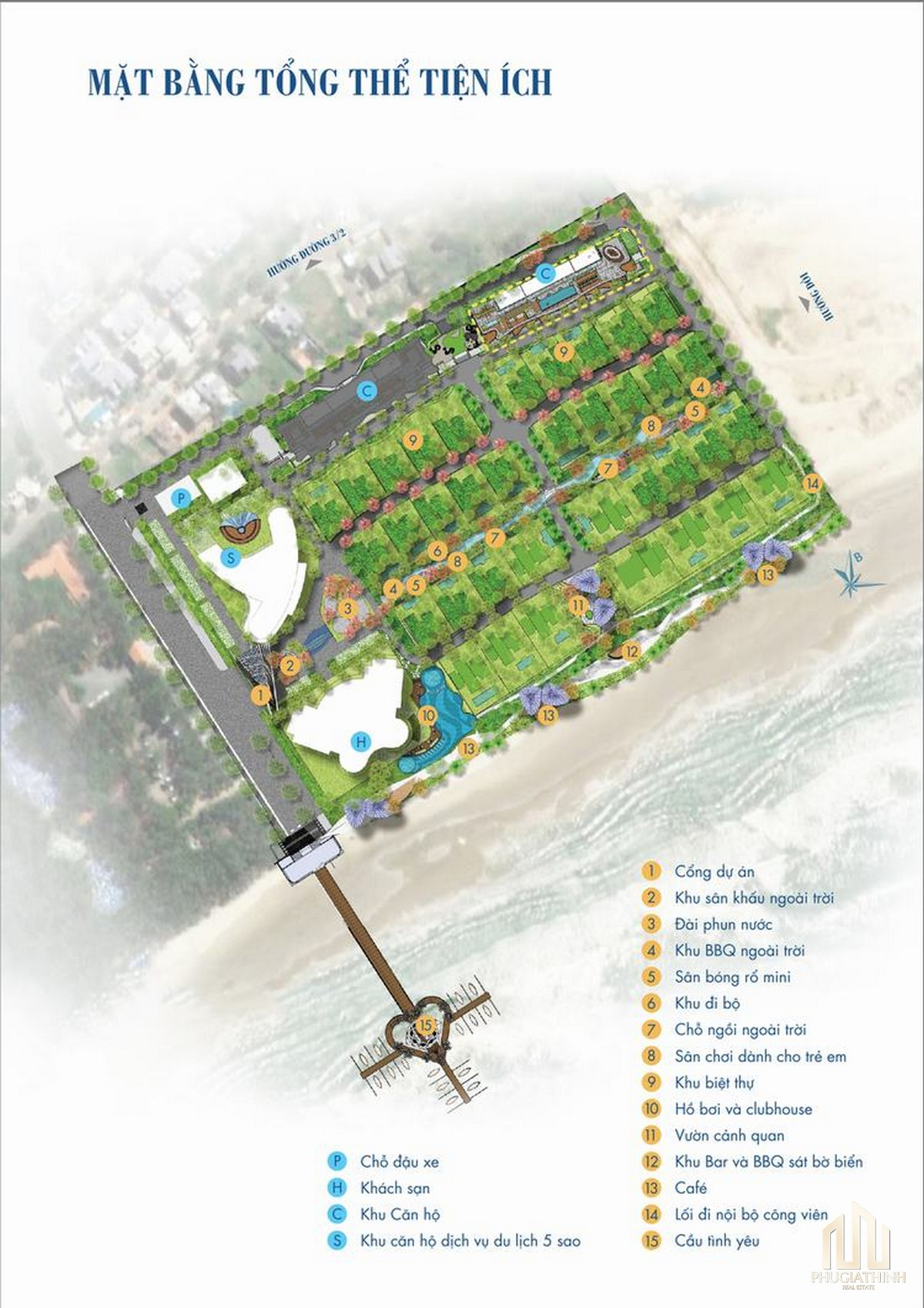 Mặt bằng bố trí tiện ích nội khu dự án Aria Vũng Tàu Hotel & Resort