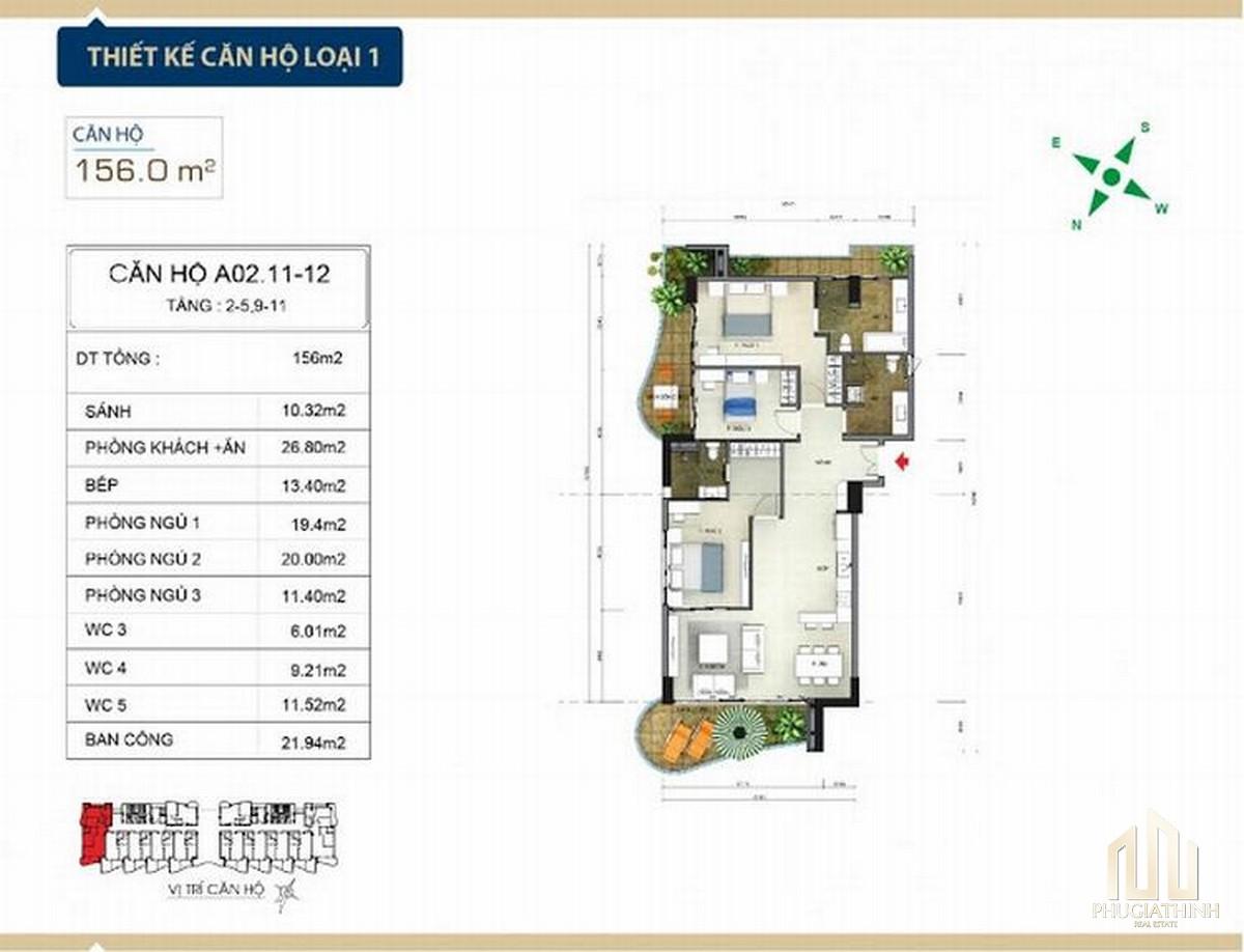 Thiết kế căn hộ loại 1 căn hộ condotel Aria