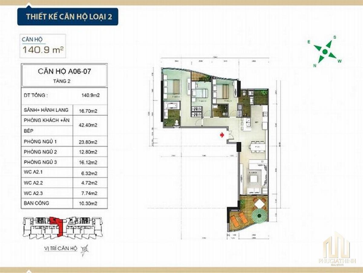 Thiết kế căn hộ loại 2 căn hộ condotel Aria