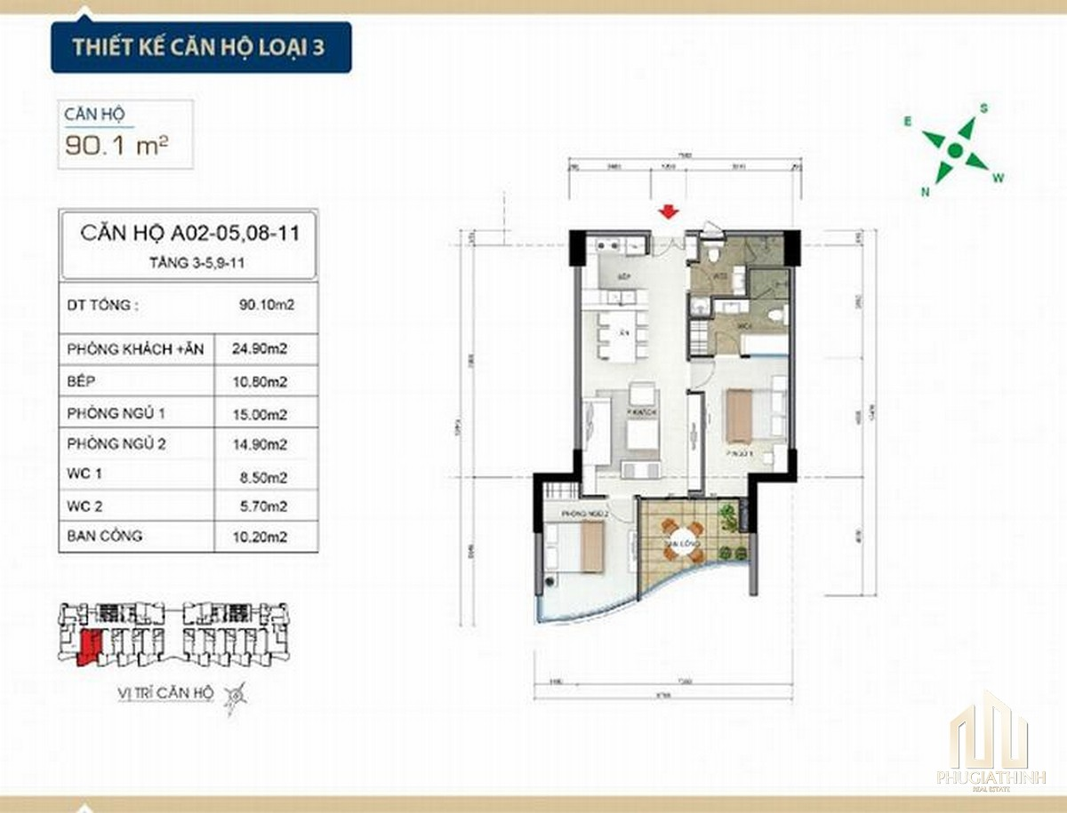 Thiết kế căn hộ loại 3 căn hộ condotel Aria