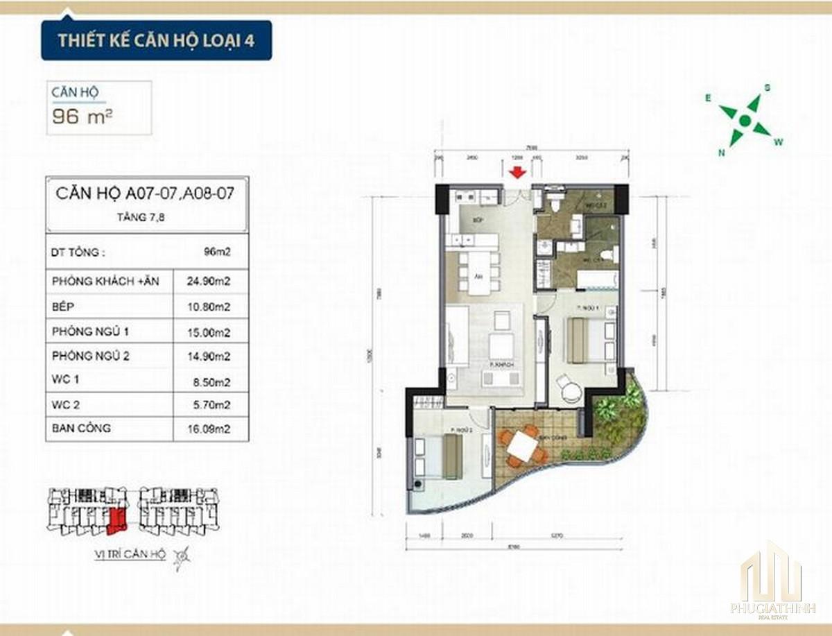 Thiết kế căn hộ loại 4 căn hộ condotel Aria