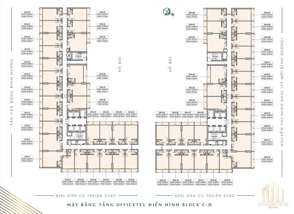 Mặt bằng officetel Block C+D dự án Lavita Thuận An Bình Dương