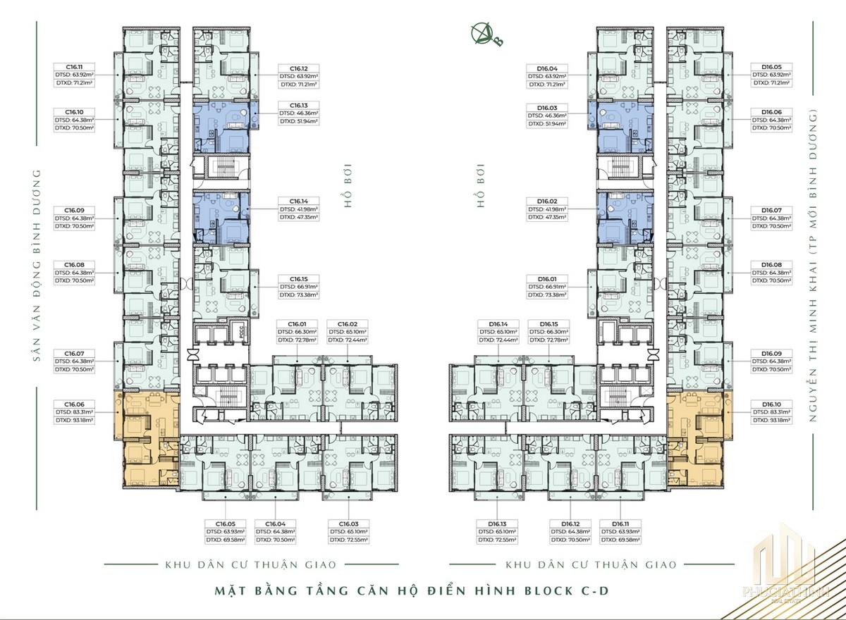 Mặt bằng căn hộ Block C+D dự án Lavita Thuận An Bình Dương