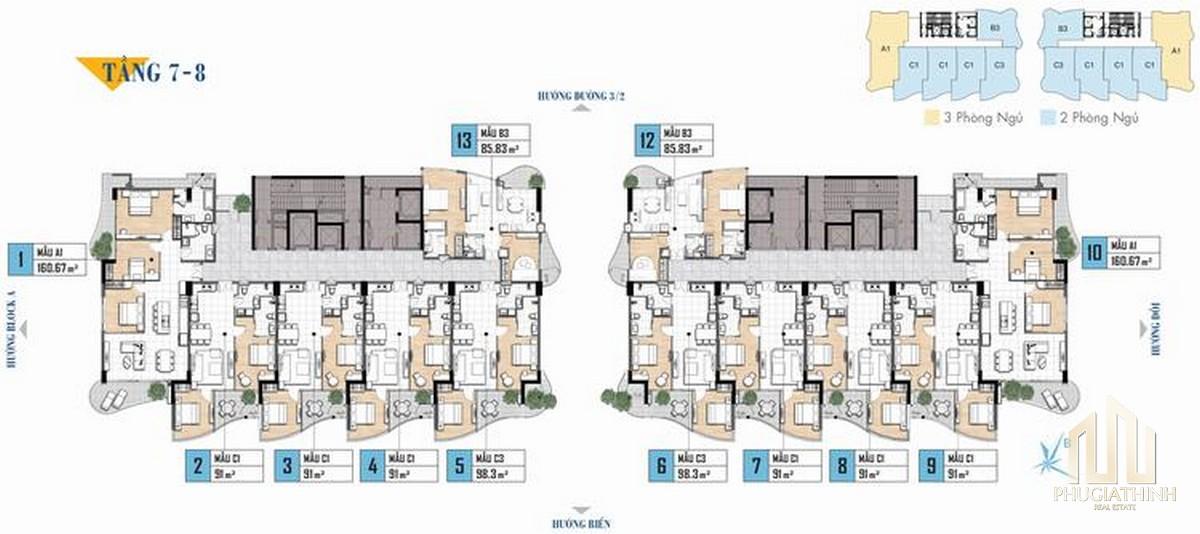 Mặt bằng tầng 7-8 dự án căn hộ Aria