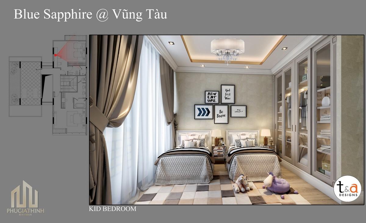 Thiết kế phòng ngủ trẻ em Villa Blue Saphhire - dự án Aria
